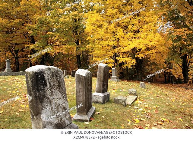 South Side Cemetery in Nottingham, New Hampshire USA during the autumn months