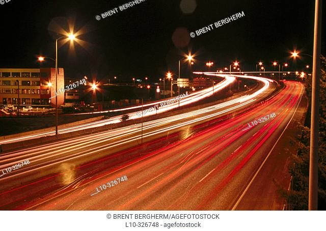 Interstate 5 (L-5) in Portland as seen from a bridge with traffic lights streaks. Oregon, USA