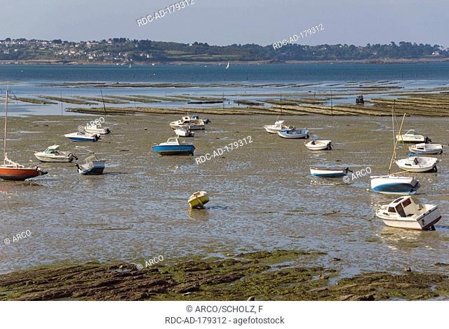 Boats in wadden sea, Port Lazo, bay Anse de Paimpol, Baie de Saint Brieuc, Brittany, France