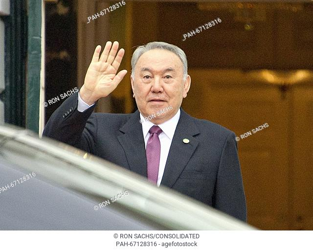 Nursultan Nazarbayev, President of the Republic of Kazakhstan arrives for the working dinner for the heads of delegations at the Nuclear Security Summit on the...
