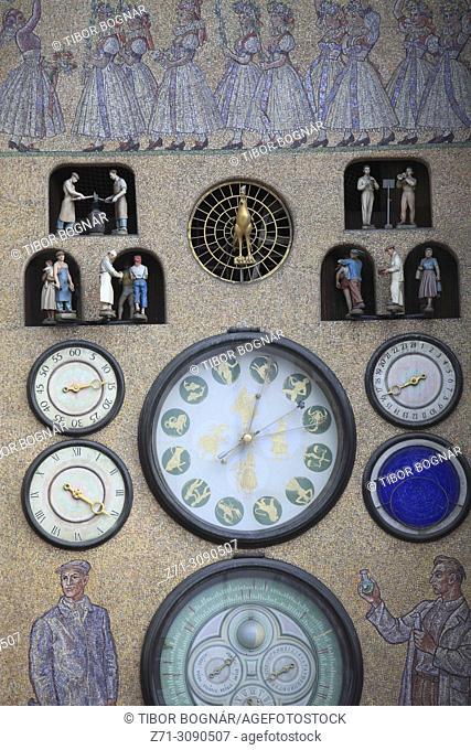 Czech Republic, Moravia, Olomouc, Town Hall, Astronomical Clock,