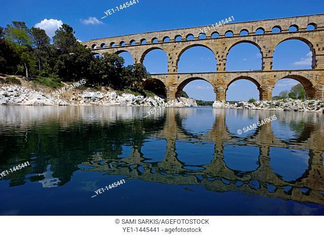 The Pont du Gard, an ancient Roman aqueduct bridge that crosses the Gardon river, Gard, France
