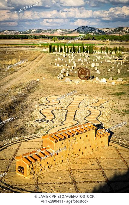 Cemetery and columbarium of Pintia Vacceo-Roman of Las Ruedas, used during more than 500 years. Padilla de Duero. Duero River. Ribera del Duero