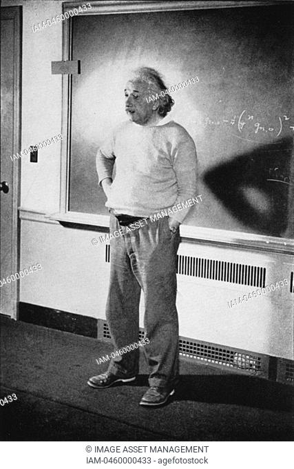 Albert EINSTEIN 1879-1955, German-Swiss-American mathematical physicist, in his study at Institute of Advanced Study, Princeton, United States, 1940