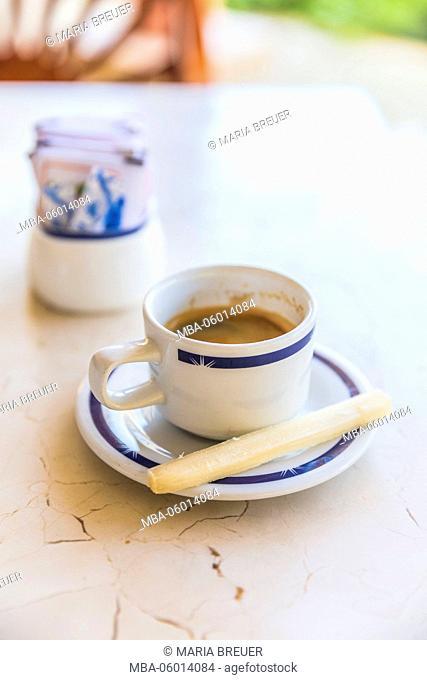 Espresso coffee with sugarcane for stirring, hotel of Melia Las Dunas, Cayo Santa Maria, Villa Clara, Cuba, the republic Cuba, the Greater Antilles