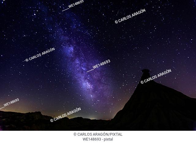 Milky way over Castildetierra, desert landscape in Bardenas Reales of Navarra, Spain