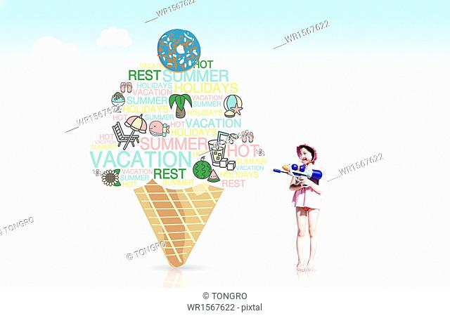 a girl standing next to an ice cream