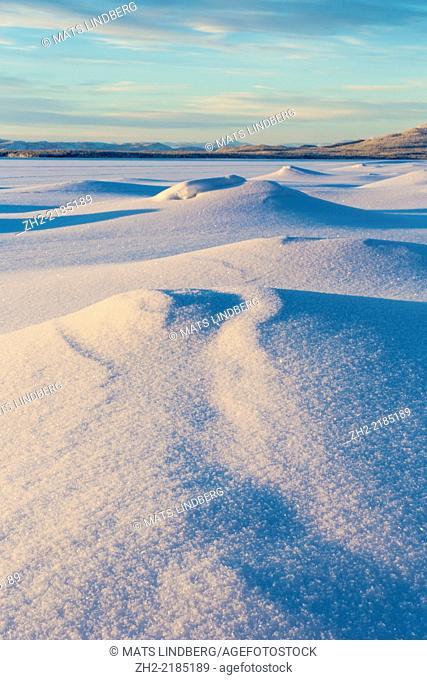 Winter landscape in Jokkmokk county in Swedish lapland, Sweden