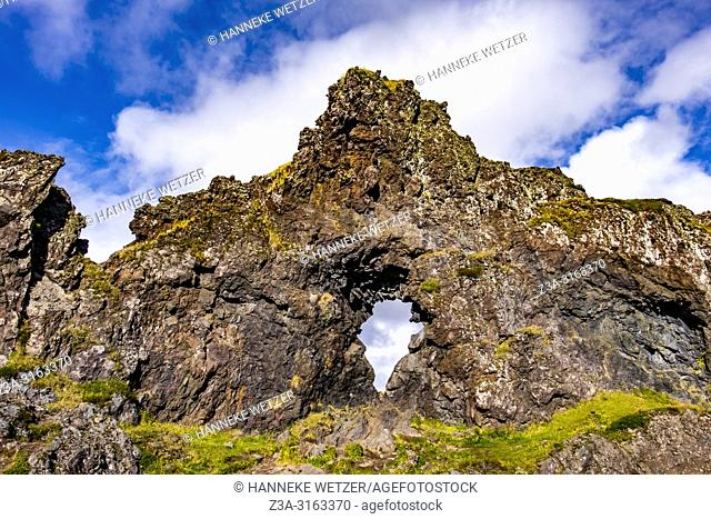 Gatklettur, a rock with a hole in it at Nautastígur path - the Path of the Bull on Snæfellsnes in West-Iceland