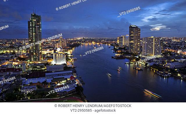 Chao Phraya River and city skyline, Bangkok, Thailand