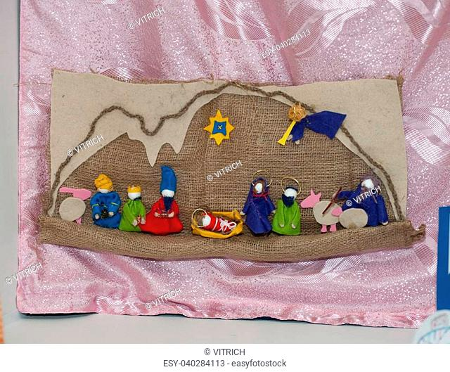 Felt nativity scene. All was made of cloth wool and wire. Its child gift to Christ