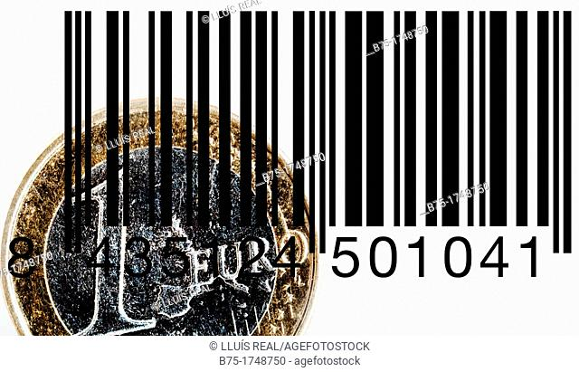 primer plano de un euro con codigo de barras, closeup of a bar code with a euro