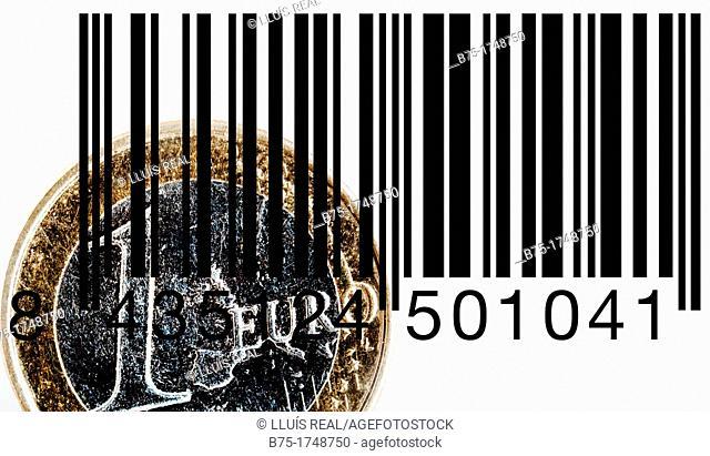 primer plano de un euro con codigo de barras, closeup of a bar code with a euro