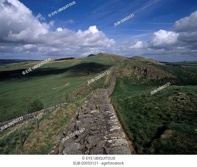 View along stretch of ruined wall at Cawfields