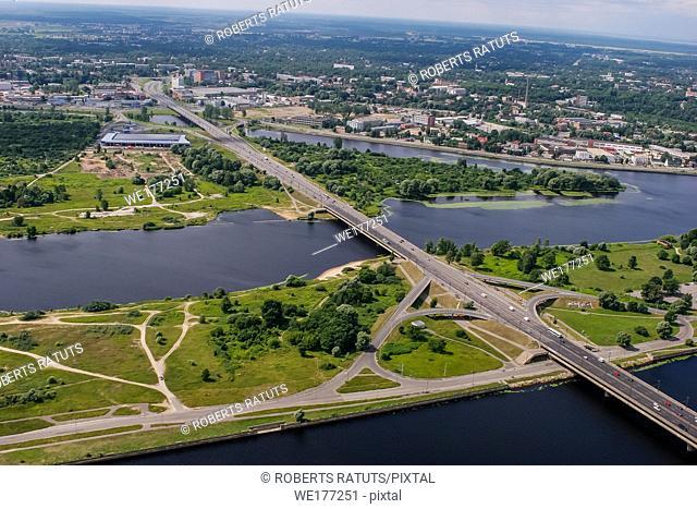 Aerial view of Riga city- capital of Latvia. Riga from above