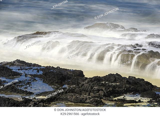 Coastal Rocks and pounding surf, Cape Perpetua, Oregon, USA