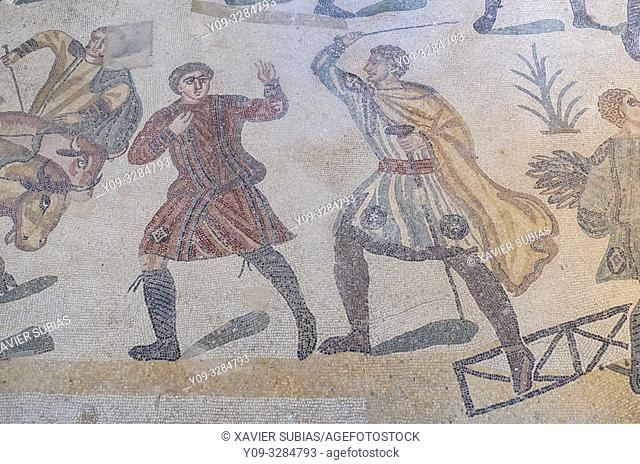 The big mosaic, Villa Romana del Casale, Piazza Armerina, Sicily, Italy