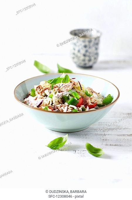 Basmati rice and tuna salad with vegetables
