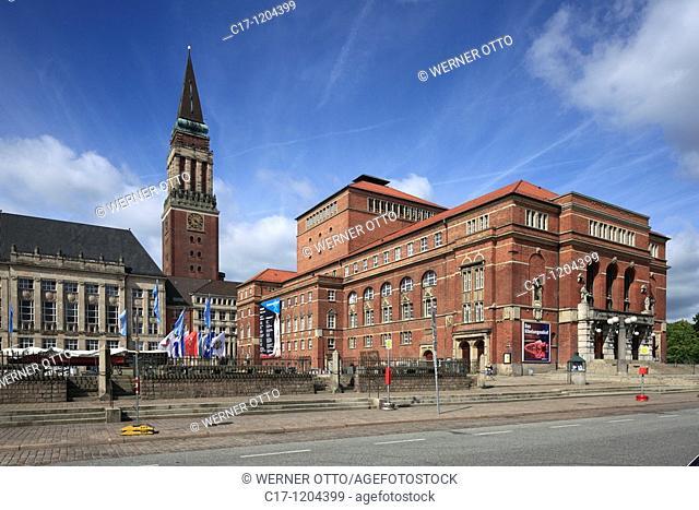 Germany, Kiel, Kiel Fjord, Baltic Sea, Schleswig-Holstein, Rathaus Square, city hall, city hall tower, campanile, brick building, opera house, art nouveau