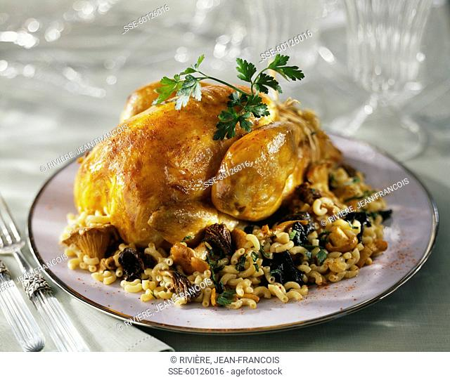 Roasted capon with mushrooms
