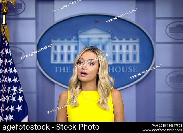 White House Press Secretary Kayleigh McEnany speaks during a news conference in the James S. Brady Press Briefing Room at the White House in Washington D