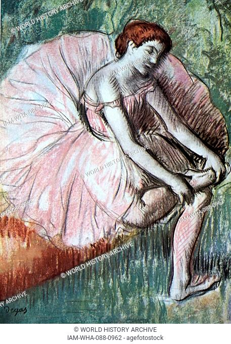 Painting titled 'Dancer Massaging her Ankle' by Edgar Degas (1834-1917) a French artist and sculptor. Dated 19th Century