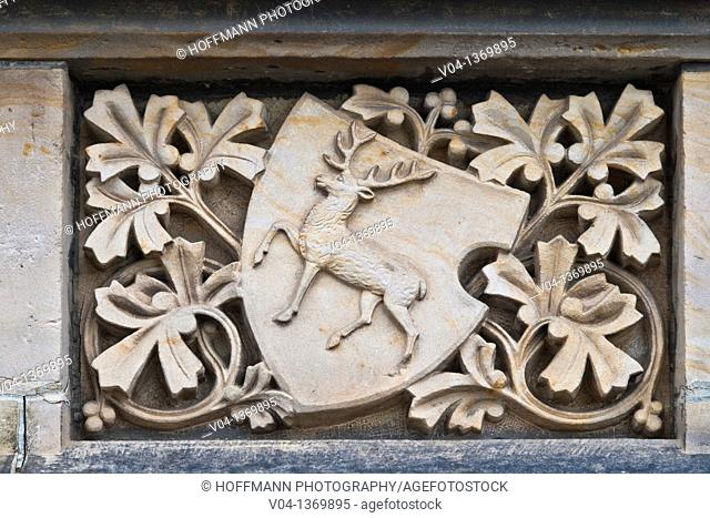 Ornament on a half-timbered house in Wernigerode, Saxony-Anhalt, Germany, Europe