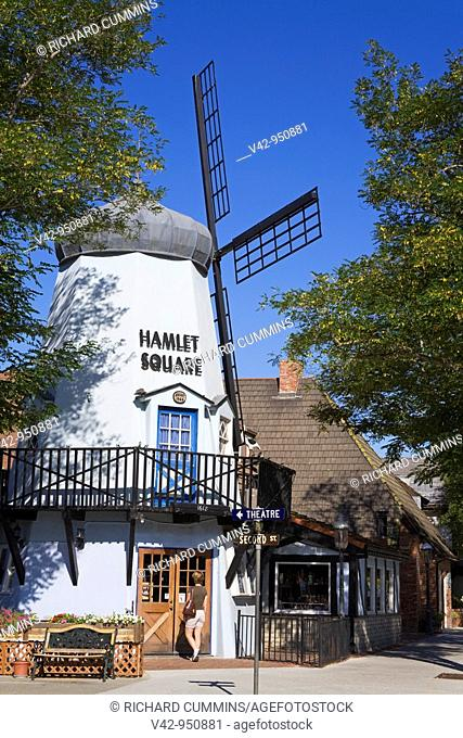 Windmill in Hamlet Square, Solvang, Santa Barbara County, Central California, USA