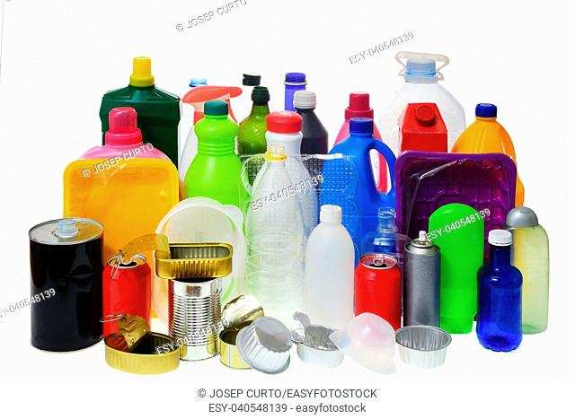 group of plastic and metal containers