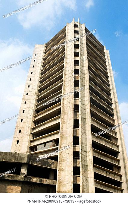 Low angle view of a building under construction, Barakhamba Road, New Delhi, India