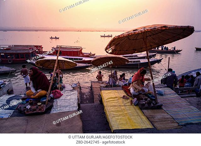 Morning activities at River Ganges during sunrise.Varanasi, Uttar Pradesh, India, Asia