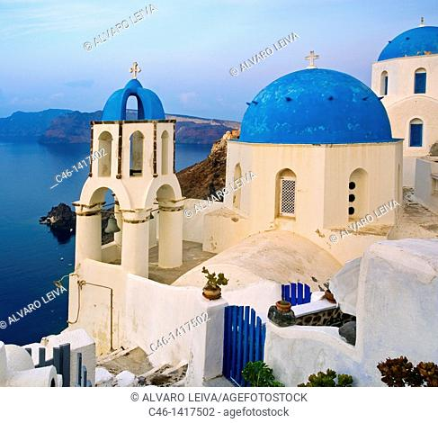 Churches in Oia, Santorini island, Cyclades Islands, Greece