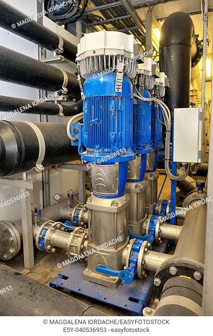 Demineralized sistem water treatment inside of plant