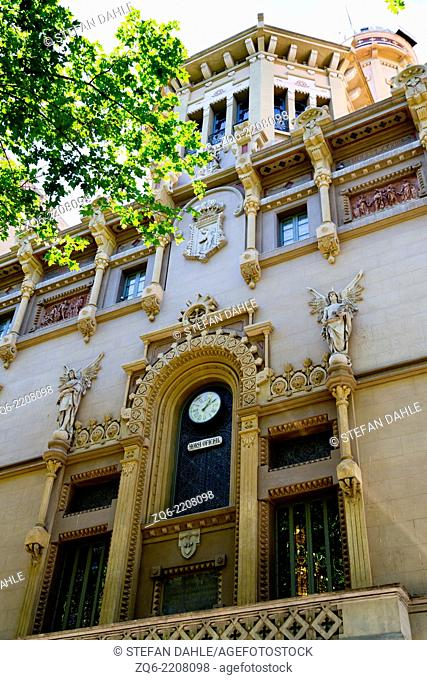 Typical Exterior Facade in the old Town of Barcelona, Spain