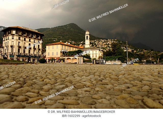 Thunderstorm above Cernobbio at the Lago di Como, Lake Como, Lombardy, Lombardia, Italy, Europe