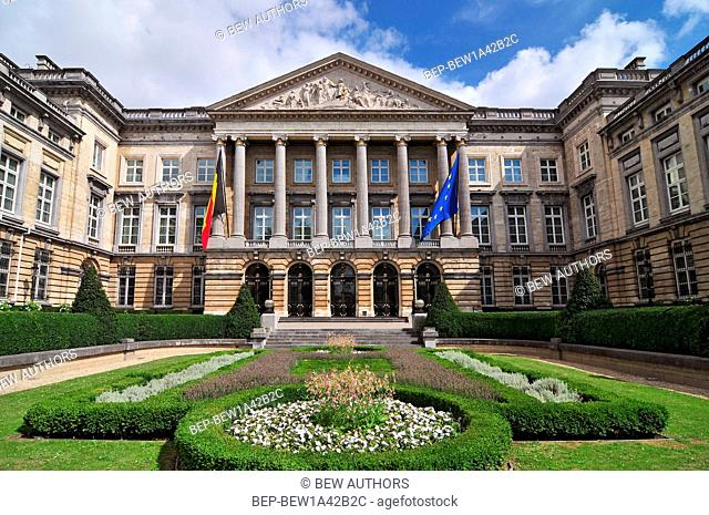 The Belgian Federal Parliament sits in the Palace of the Nation in Brussels Belgium
