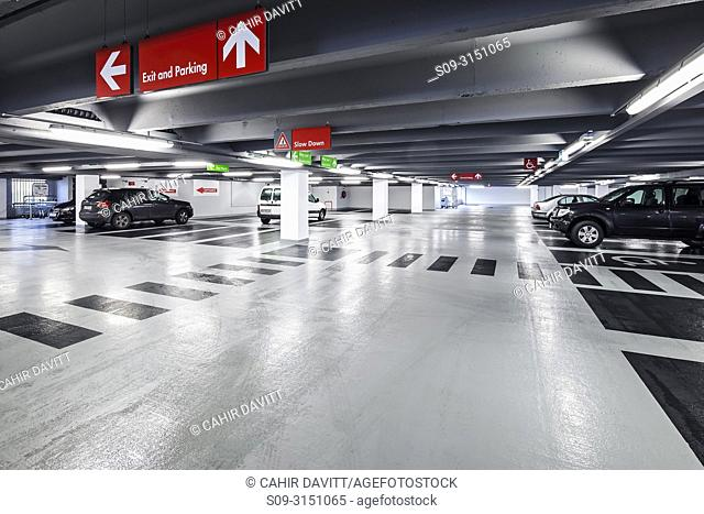 The interior of Q-Park Eyre Square car park, Galway, Co. Galway, Ireland