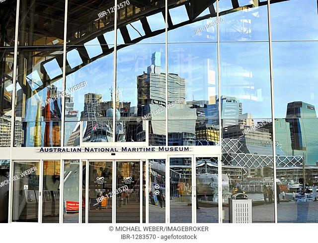 Australian National Maritime Museum, Darling Harbour, reflecting the skyline of the Central Business District, Sydney, New South Wales, Australia