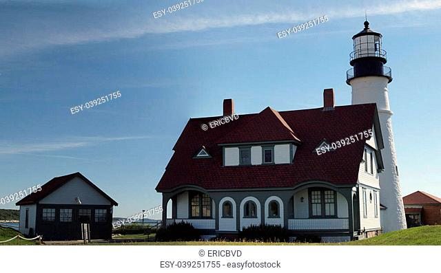 Portland Head Lighthouse and surrounding houses, Cape Elizabeth Portland, ME. Historic Lighthouse first lit on January 10, 1791