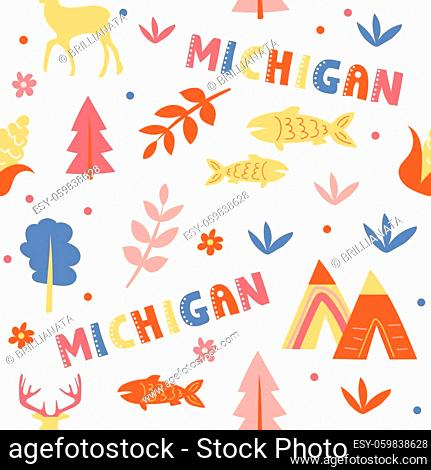 USA collection. Vector illustration of Michigan theme. State Symbols - seamless pattern