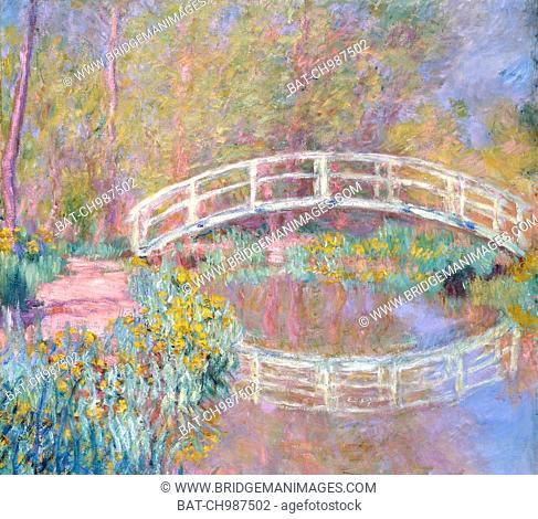 Bridge in Monet's Garden, 1895-96 (oil on canvas) by Monet, Claude (1840-1926); 92x89 cm; Private Collection; (add.info.: Bridge in Monet's Garden; Pont dans le...