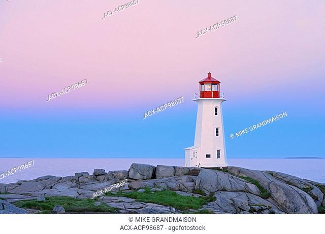 Peggy's Cove Lighthouse at dawn Peggy's Cove Nova Scotia Canada