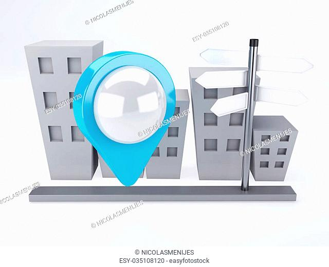 image of city with map Pointers. gps concept. 3d illusrtation