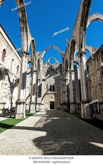 Destroyed church, ruins of the Igreja do Carmo, Convento da Ordem do Carmo, Chiado, Lisbon, Portugal