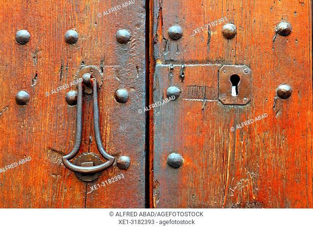 wooden door, Sant Cugat del Valles, Catalonia, Spain