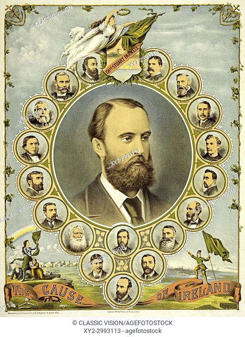 A poster from 1891, printed in America, supporting the Irish demand for Home Rule. At the centre is a portrait of the Irish Nationalist politician Charles...