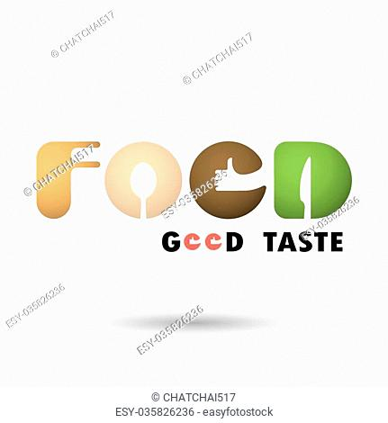 """F,O,O and D-letters logo elements design.Spoon,knife and fork icon with human hand symbol.""""""""Food Good Taste"""""""" words logo.Food and drink concept"""