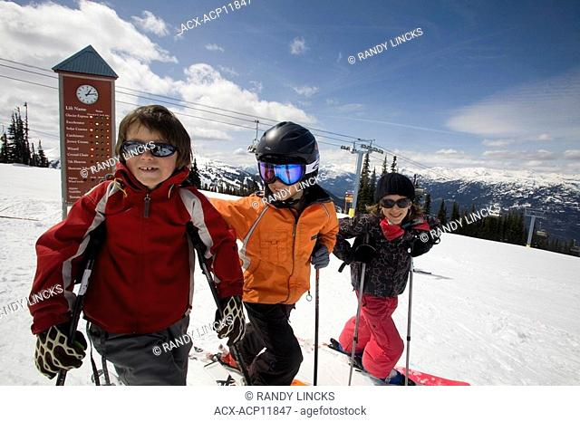 Young skiers on Whistler Mountain, British Columbia, Canada