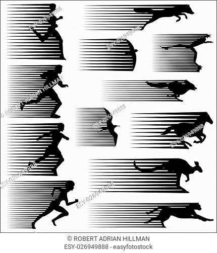 Set of editable vector silhouettes of fast-moving people and animals