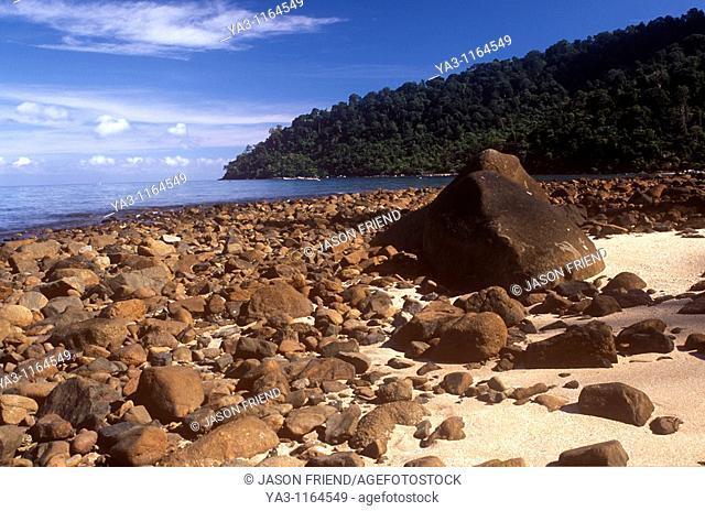 Malaysia, Johor, Tioman Island  The rocky landscape of Air Batang Bay, a popular tourist destination found on the island